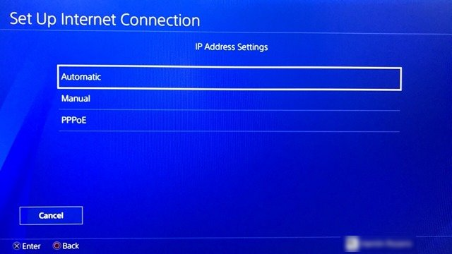 IP address settings on PS4