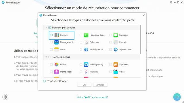 Récupérer les contacts supprimés sur iPhone - Etape 2