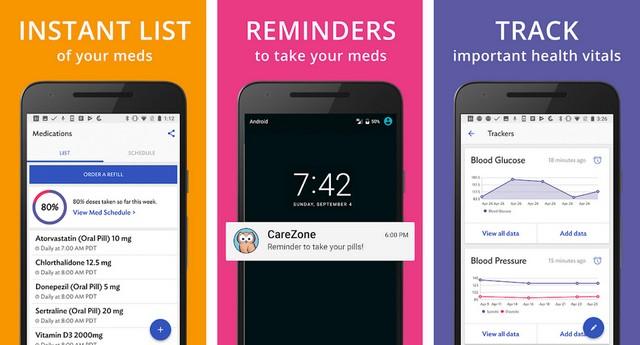 CareZone - meilleur application médicales sur Android