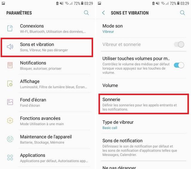 changer votre sonnerie sur le Samsung Galaxy S7