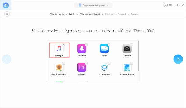 transférer les données depuis l'ancien iPhone