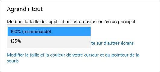 Agrandir la taille du texte dans Windows 10