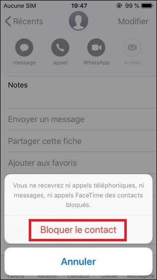 Bloquer le contact sur iPhone