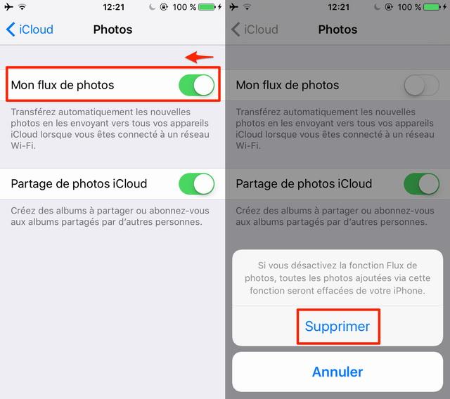 Effacer Mon flux de photos iCloud avec iPhone