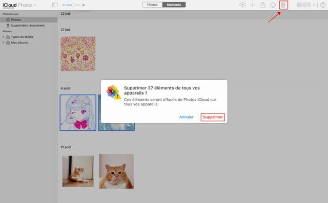 Supprimer les photos iCloud