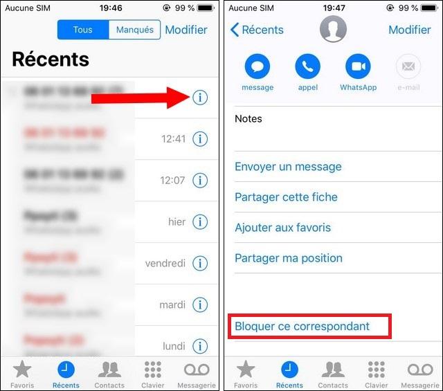 bloquer les appels sur iPhone