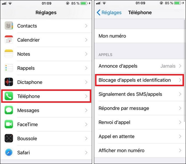 bloquer un contact à partir des paramètres iOS