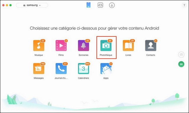 transférer les photos Samsung S9 vers Mac
