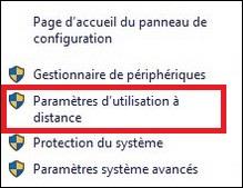 Paramètres d'utilisation à distance