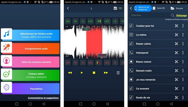 Couper l'audio et faire une sonnerie - applications de sonneries