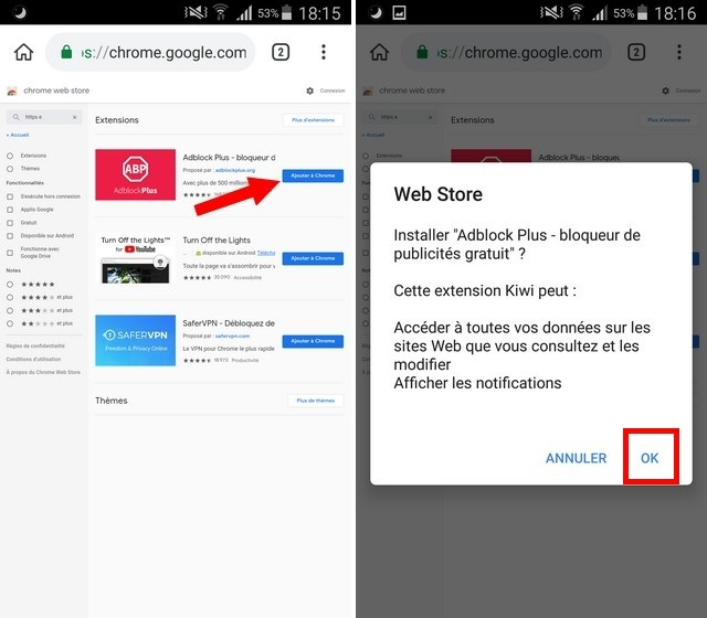 installer les extensions Chrome sur Android