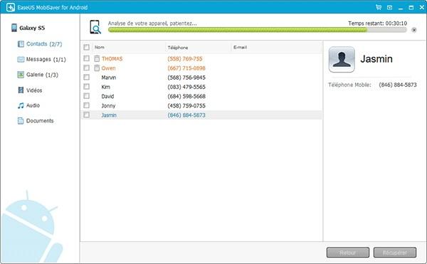 récupérer des fichiers supprimés d'une tablette Samsung