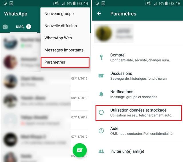désactiver le téléchargement automatique des photos sur WhatsApp