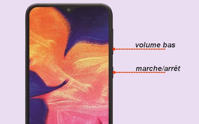 capture d'écran sur Samsung Galaxy A10 en utilisant les boutons physiques