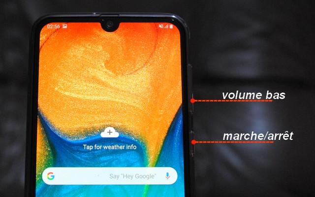 Capture écran sur Samsung Galaxy A30 à l'aide des boutons physiques