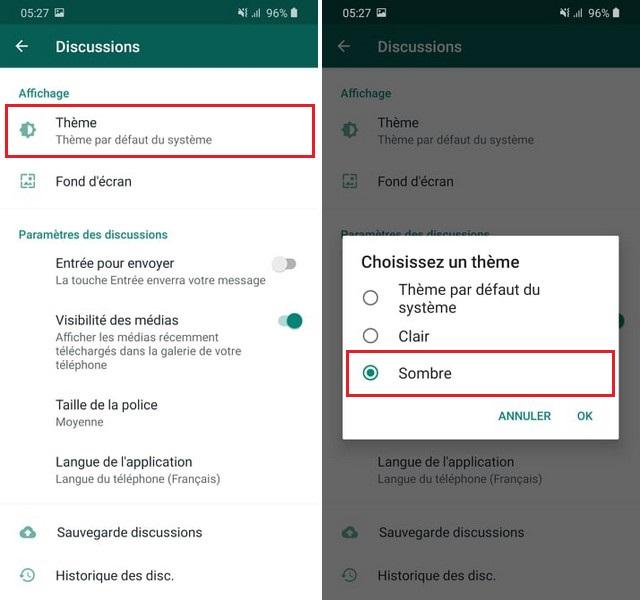 Activer le mode sombre sur WhatsApp pour Android