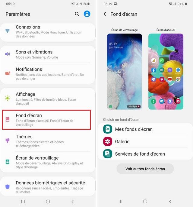Changer le fond d'écran du Samsung Galaxy A51