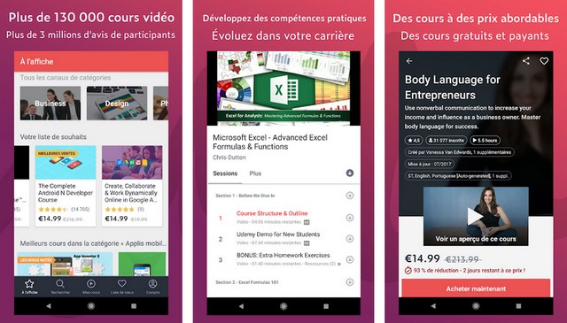 Udemy - application apprentissage