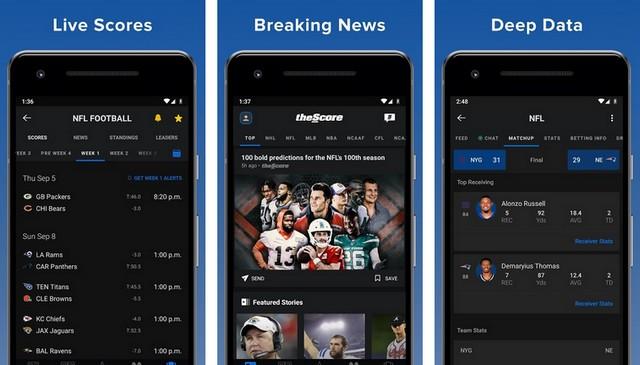 TheScore - meilleur application de baseball pour Android