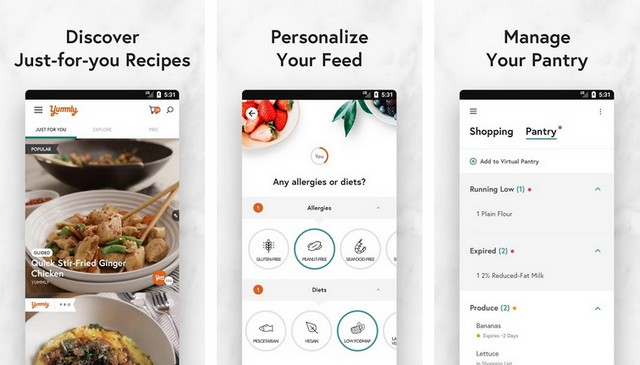 Yummly - application de planification de repas