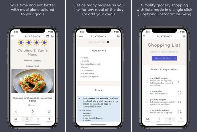 PlateJoy - application de planification de repas