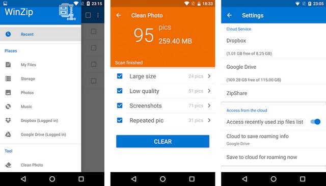 WinZip - meilleure application de décompression pour Android