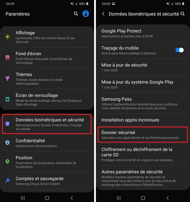 dossier sécurisé dans le Samsung Galaxy A20