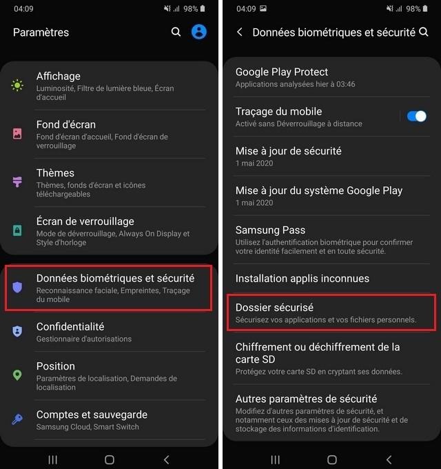 Activer le dossier sécurisé sur Samsung Galaxy A90