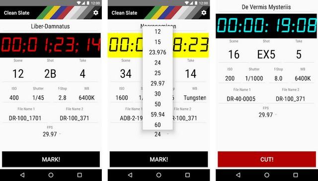 Clean Slate - application Android pour les cinéastes