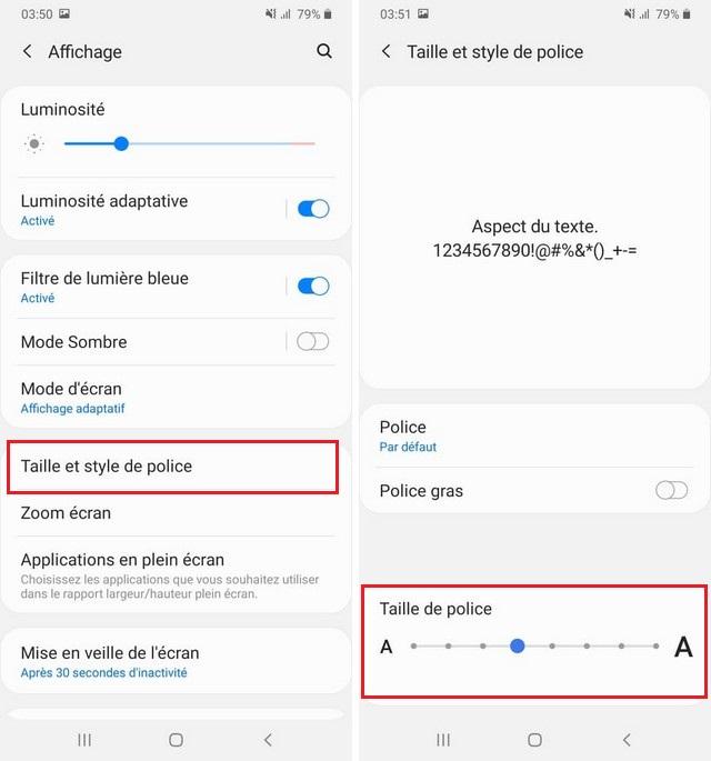 Comment changer la taille de police sur Galaxy A51