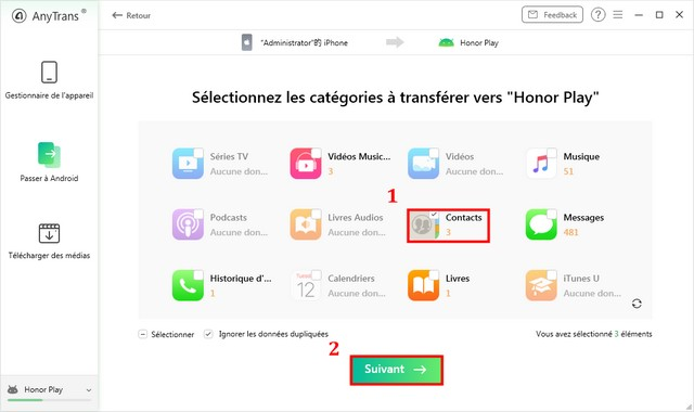 Transférer contacts iOS vers Android via AnyTrans