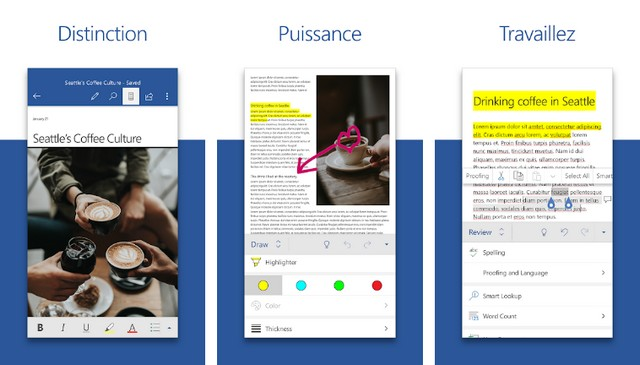 Microsoft Word - application Android pour écrire un CV