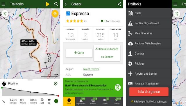 Trailforks - application Android pour faire du vélo