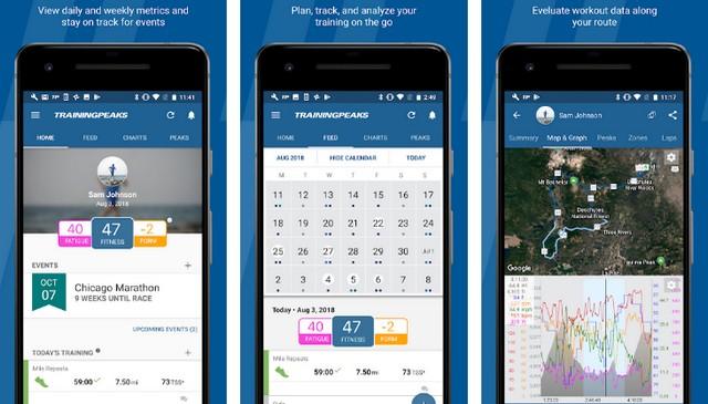 TrainingPeaks - application Android pour faire du vélo