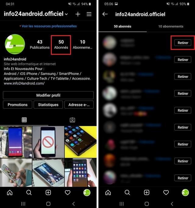 Supprimer des abonnés sur un compte Instagram