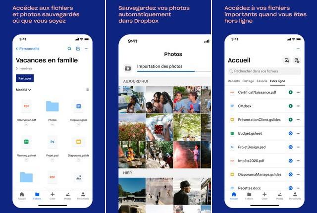 Dropbox - application iPhone pour les enseignants