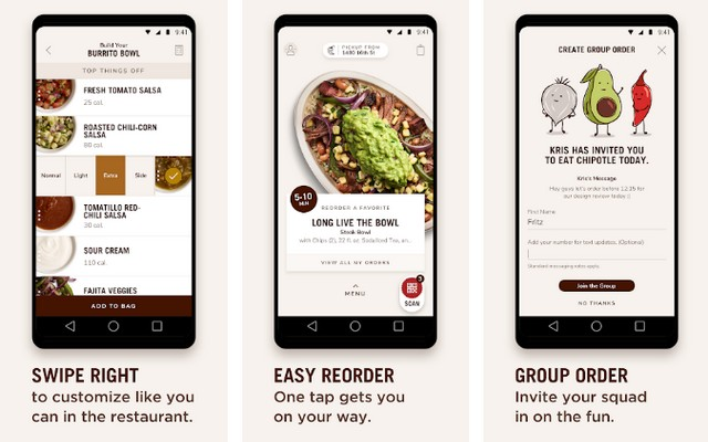 Chipotle - Fast food app