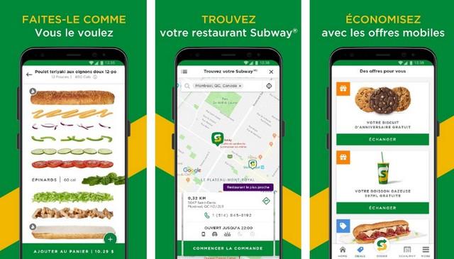 Subway - Application de restauration rapide