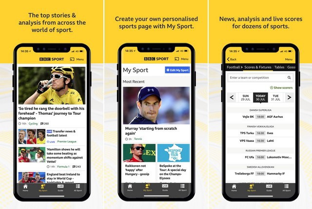 BBC Sport - applications actualité sportive