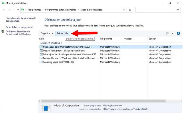 Comment désinstaller les mises à jour sur Windows 10