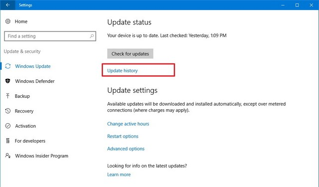 How to uninstall an update on Windows 10