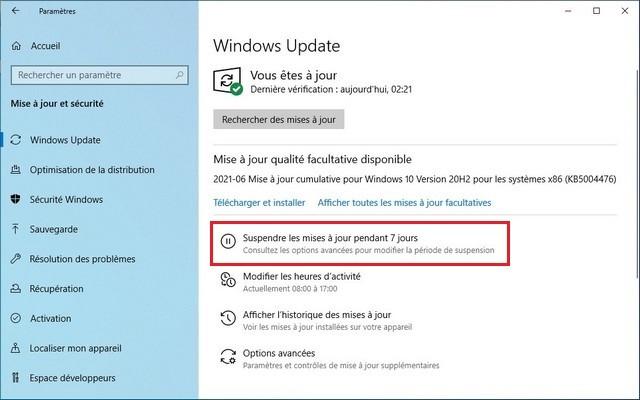 Comment suspendre les mises à jour sur Windows 10