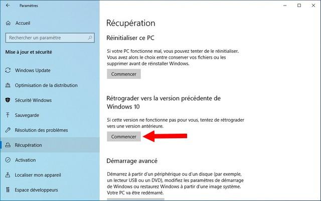 Désinstaller la mise à jour des fonctionnalités sur Windows 10