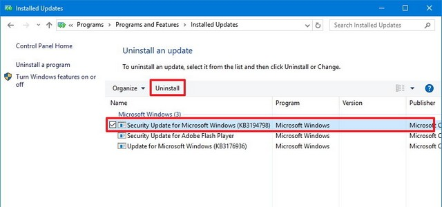 Uninstall an update from Control Panel