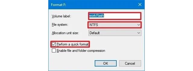 Perform a quick format