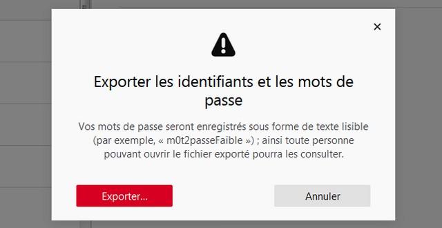Exporter des mots de passe enregistrés sur Firefox