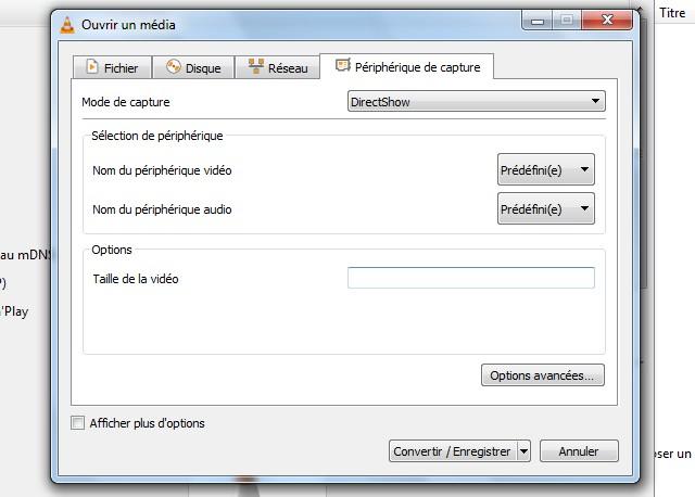 Périphérique de capture VLC