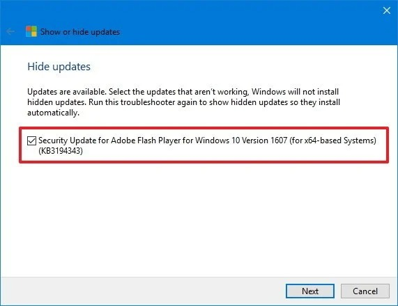 Select Windows 10 update