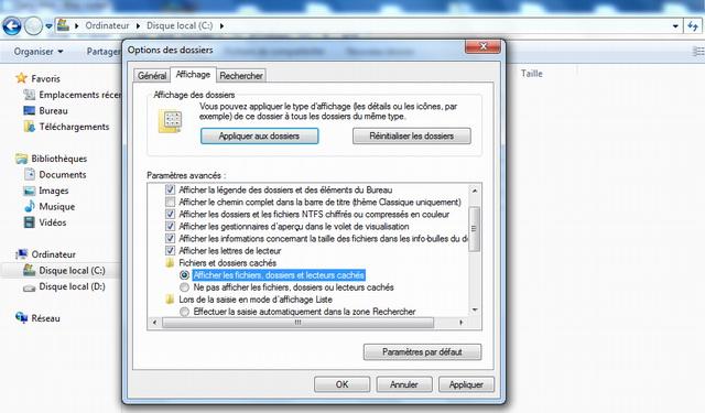 Show hidden files, folders and drives