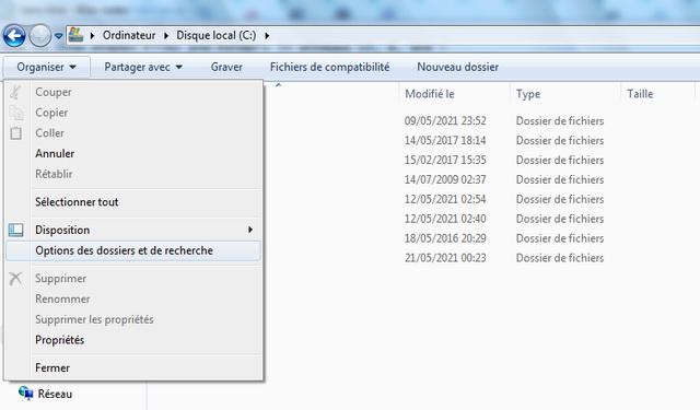 Show hidden files and folders in Windows 7
